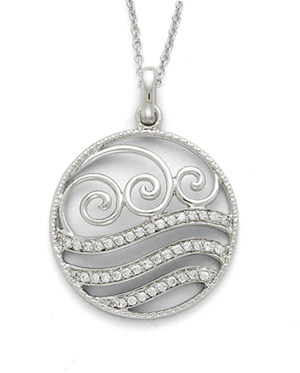 Sterling Silver Serenity Pendant with CZ Accent