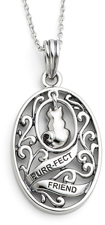 Purr-fect Friend Sterling Silver Cat Pendant