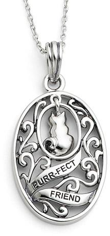 Purr-fect Friend Sterling Silver Cat Pendant