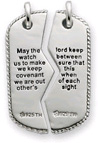 Sterling Silver Military Dog Tag Pendant with Prayer Inscription for Two