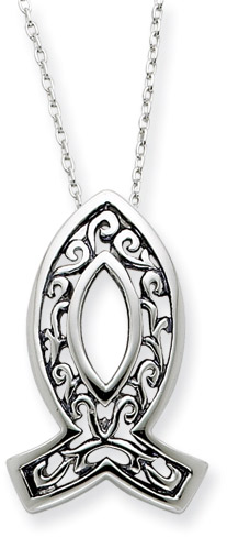 Sterling Silver Icthus Necklace