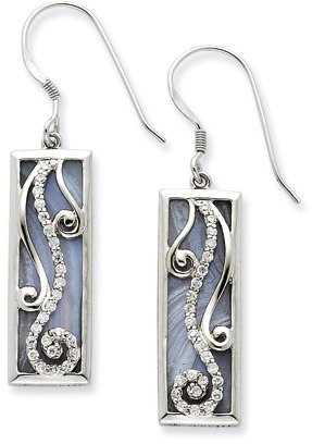 Sterling Silver and Blue Lace Agate Living Water Earrings with CZ Accents