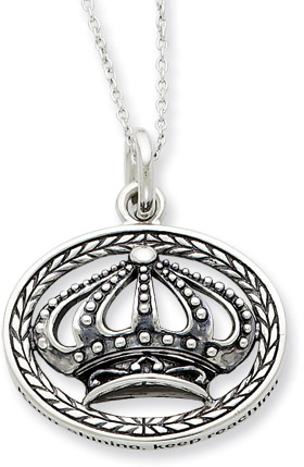 Keep Shining, Keep Reaching Antiqued Sterling Silver Necklace