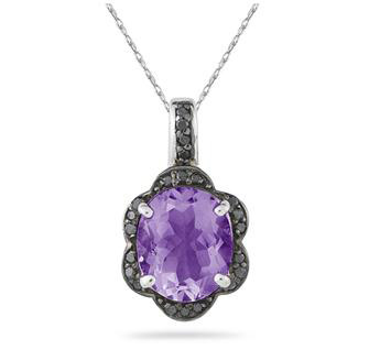 Amethyst and Black Diamond Royal Pendant in .925 Sterling Silver