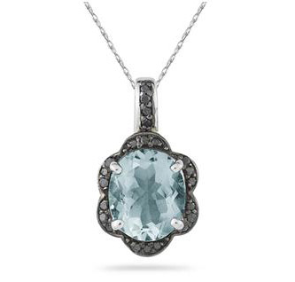 Aquamarine and Black Diamond Royal Pendant in .925 Sterling Silver