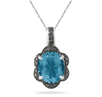 Blue Topaz and Black Diamond Royal Pendnat in .925 Sterling Silver