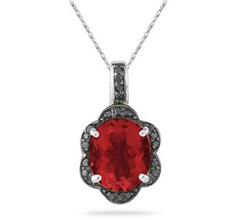 Garnet and Black Diamond Royal Pendant in .925 Sterling Silver