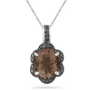 Smoky Quartz and Black Diamond Royal Pendant in .925 Sterling Silver