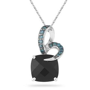 Onyx and Blue Diamond Pendant in .925 Sterling Silver