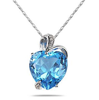 4.75 Carat Blue Topaz and Diamond Heart Pendant in .925 Sterling Silver