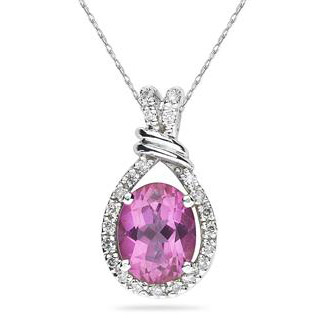 Pink Topaz and Diamond Teardrop Pendant in .925 Sterling Silver