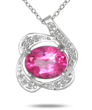 3.00 Carat Oval Pink Topaz and Diamond Pendant in .925 Sterling Silver