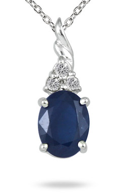 1.70 Carat Sapphire and Diamond Pendant in .925 Sterling Silver