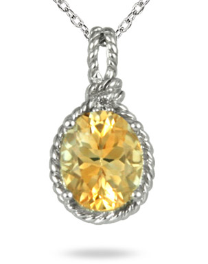 2.50 Carat Oval Citrine and Diamond Pendant in .925 Sterling Silver