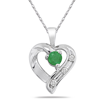 Emerald and Diamond Heart Pendant in .925 Sterling Silver