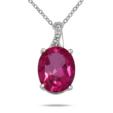 3.50 Carat Pink Topaz and Diamond Pendant in .925 Sterling Silver