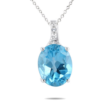 3.50 Carat Swiss Blue Topaz and Diamond Pendant in .925 Sterling Silver