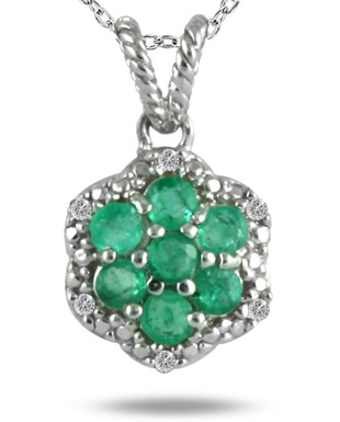 Emerald and Diamond Pendant in .925 Sterling Silver