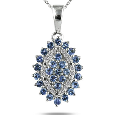 Tanzanite and Diamond Pendant in .925 Sterling Silver