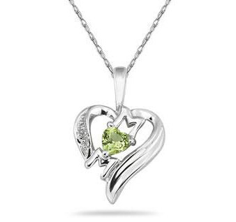 Peridot and Diamond Heart MOM Pendant in .925 Sterling Silver