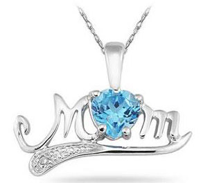 Blue Topaz and Diamond Mom Pendant in .925 Sterling Silver