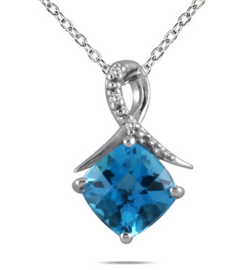 2.00 Carat Cushion Cut Swiss Blue Topaz and Diamond Pendant in .925 Sterling Silver