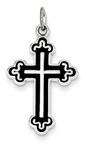 Antiqued Cathedral Cross Pendant in Sterling Silver