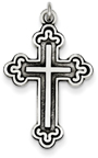 Black Antiqued Herald Cross Pendant in Sterling Silver