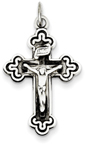 Antiqued Budded Trinity Crucifix in Sterling Silver