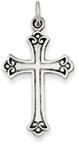 Antiqued Scroll Budded Cross Pendant, Sterling Silver