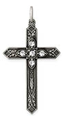 April Birthstone Cross Pendant, Sterling Silver
