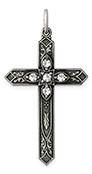 April Birthstone Cross Pendant, Sterling Silver