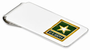 Army Yellow Star Money Clip in Sterling Silver