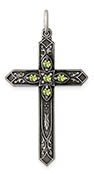 August Birthstone Cross Pendant, Sterling Silver