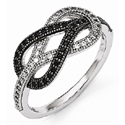 Black and White Brilliant CZ Knot Ring in Sterling Silver