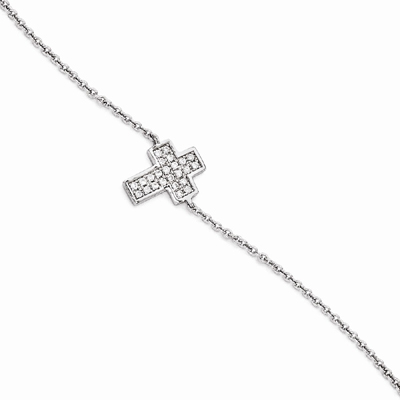 Brilliant Embers Cross Bracelet with Cubic Zirconia Stones, Sterling Silver