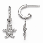 Brilliant Embers Fleur De Lis Dangle CZ Post Earrings in Sterling Silver
