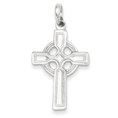 Polished and Beaded Edge Celtic Cross Pendant in Sterling Silver