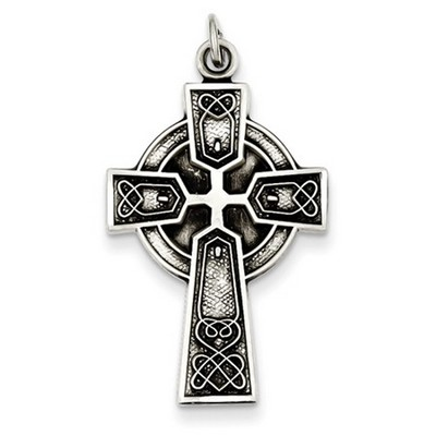 Opulent Celtic Heart Cross Necklace in Sterling Silver