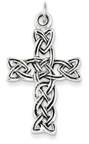 Celtic Knotwork Holy Spirit Cross Pendant in Sterling Silver