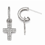 Cross Dangle Cubic Zirconia Post Earrings in Sterling Silver