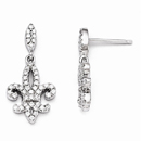 Cubic Zirconia Fleur De Lis Dangle Post Earrings in Sterling Silver