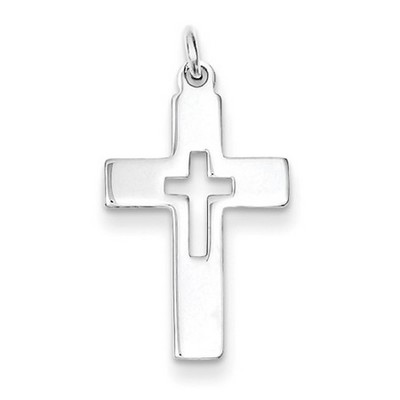 Cutout Polished Cross Pendant in Sterling Silver