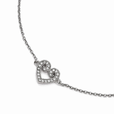 CZ Brilliant Embers Heart Anklet in Sterling Silver