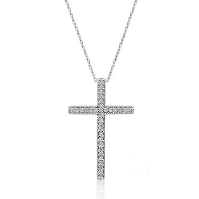 CZ Cross Slide Necklace in Sterling Silver