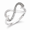 CZ Double Heart Ring in Sterling Silver