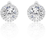 CZ Halo Lever Back Earrings in Sterling Silver