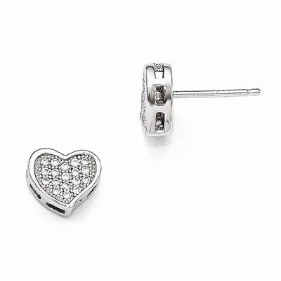 CZ Heart Post Earrings in Sterling Silver