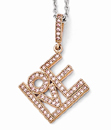 CZ Love Necklace in Rose-Gold Plated Sterling Silver