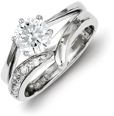 cz silver engagement bridal wedding ring set - Engagement And Wedding Ring Set